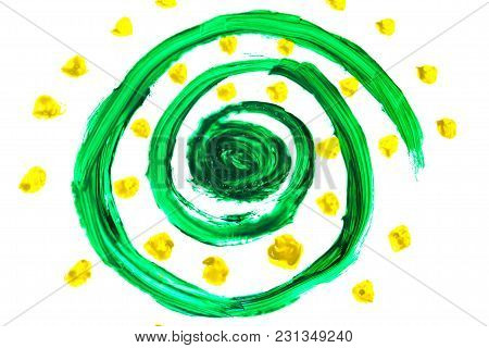 Abstract Deep Green Swirls, Mixed Paint Colors Whith Yellow Dots.