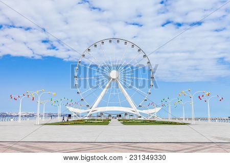 Square In The Front Of The Giant Ferris Wheel In Baku, Azerbaijan.