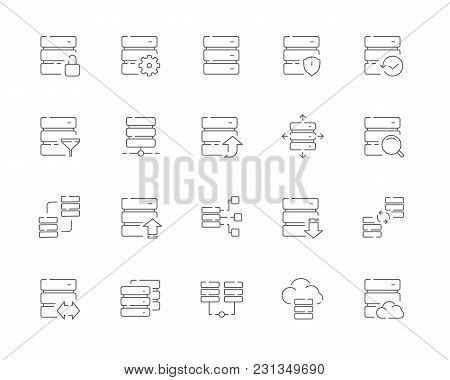 Simple Set Of Database Related Vector Line Web Icons. Contains Such Icons As Synchronization, Downlo