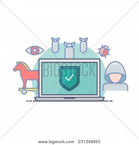 Computer Viruses Protection And Security Vector Illustration Filled Outline Style