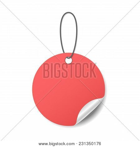 Blank Round Red Sticker With A Curled Corner On A Rope, Realistic Mockup