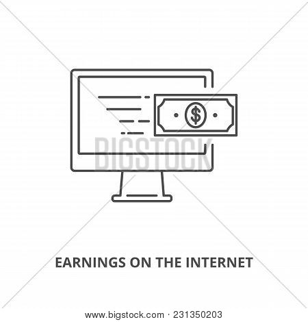 Earnings On The Internet Icons Outline Style