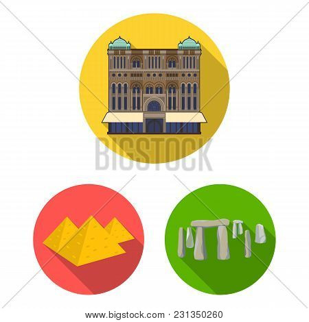 Sights Of Different Countries Flat Icons In Set Collection For Design. Famous Building Vector Symbol
