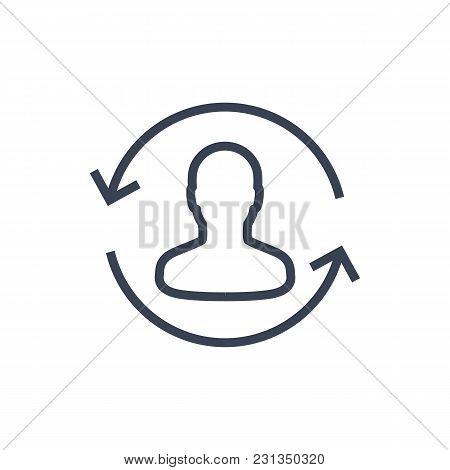 Returning Customer Line Icon On White, Eps 10 File, Easy To Edit