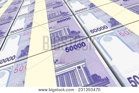 Uzbekistan sums bills stacks background. 3D illustration.