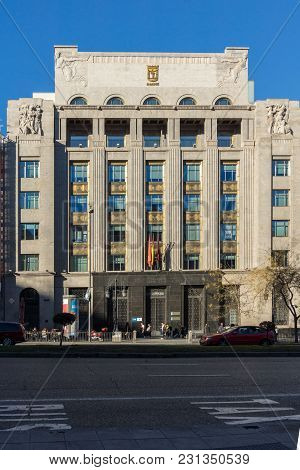 Madrid, Spain - January 21, 2018: Building At Alcala Street In City Of Madrid, Spain