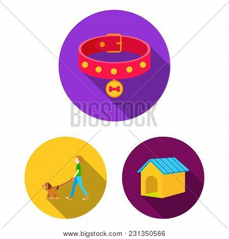 Pet Dog Flat Icons In Set Collection For Design. Caring For The Puppy Vector Symbol Stock  Illustrat