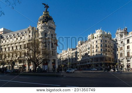 Madrid, Spain - January 21, 2018: Metropolis Building (edificio Metropolis ) At Alcala And Gran Via