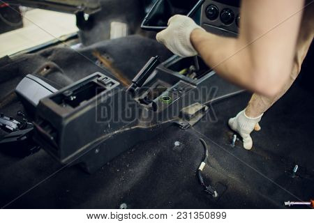 Close Up Part Of A Car Automatic Gear Lever, Gear Shift, Dismantling For Maintenance In Garage Mecan