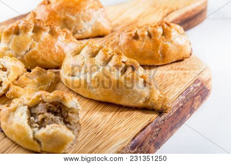 Hot Pasties From Butter Enriched Puff Pastry Filled With Minced