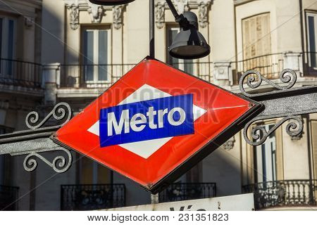 Madrid, Spain - January 21, 2018: Metro Station Gran Via At Gran Via Street In City Of Madrid, Spain