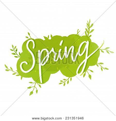 Spring Word On Textured Cloud With Hand Drawn Twings And Branches With Green Leaf