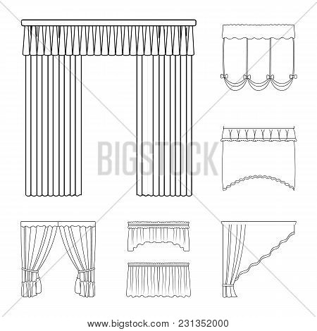 Different Kinds Of Curtains Outline Icons In Set Collection For Design. Curtains And Lambrequins Vec