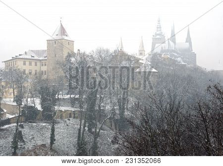 View Of Prague Castle During The Heavy Snow