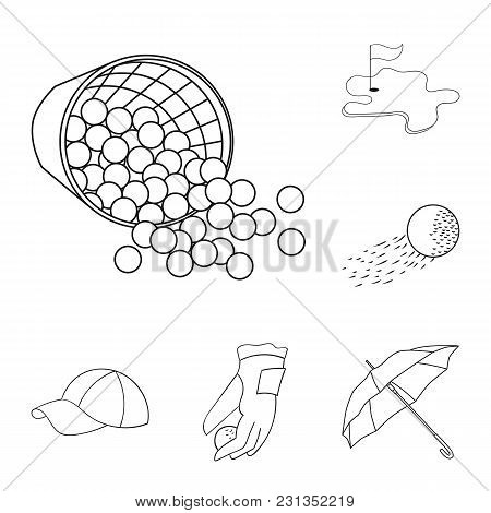 Golf And Attributes Outline Icons In Set Collection For Design.golf Club And Equipment Vector Symbol
