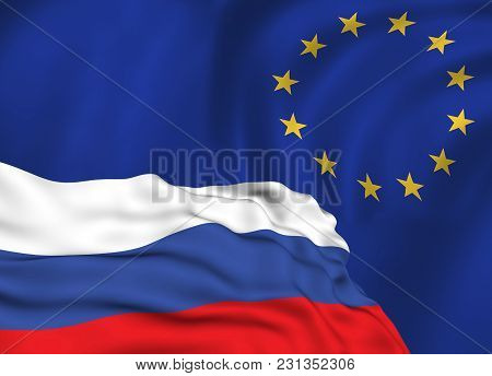 Flag Of The Russian Federation Against The Background Of The European Union Flag, The Conflict Of Sa