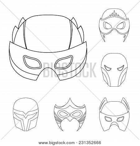 Carnival Mask Outline Icons In Set Collection For Design.mask On The Eyes And Face Vector Symbol Sto