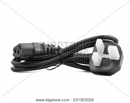 Black Electric Cable Isolated On White Background