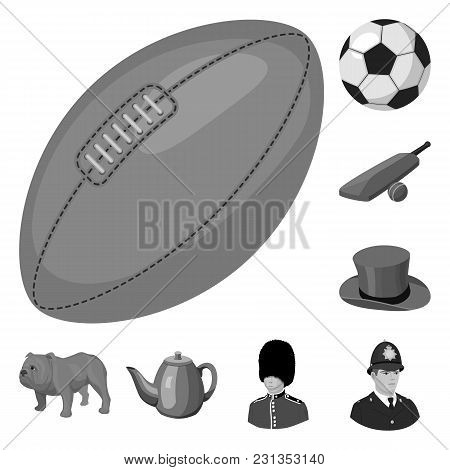 England Country Monochrome Icons In Set Collection For Design.travel And Attractions Vector Symbol S