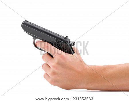 Black Gun Pistol Isolated On White Background. Danger, A Hand Gun Pointed