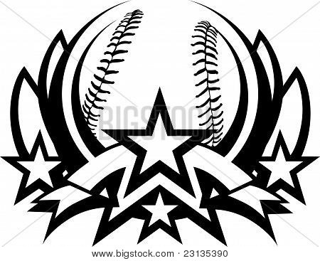 Baseball Vector Graphic Template with Stars