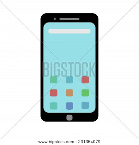 Template Picture Of A Smartphone In A Flat Style. Vector Graphics.
