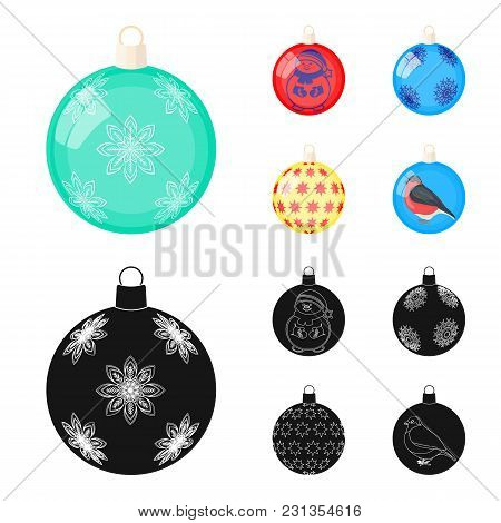 New Year's Toys Cartoon,black Icons In Set Collection For Design.christmas Balls For A Treevector Sy