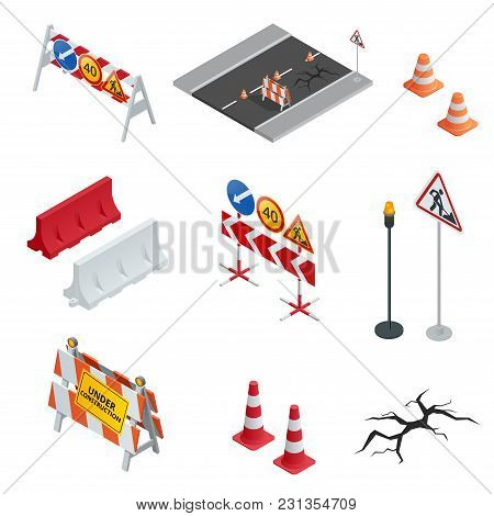 Road Repair, Under Construction Road Signs. Flat 3d Vector Isometric Illustration