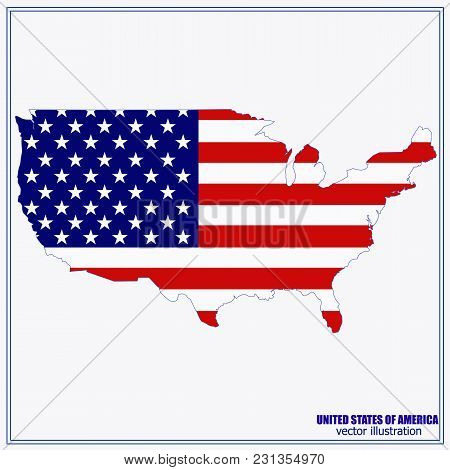United States Of America Vector Map. Usa Map. Vector Illustration With American Flag.