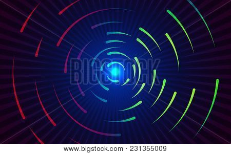 Round Lines Background. Abstract Colorful Gradient Backdrop. Red And Green Swirling Lines. Circling