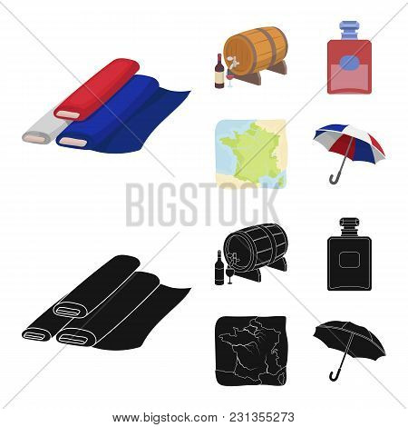 France, Country, Nation, National .france Country Set Collection Icons In Cartoon, Black Style Vecto