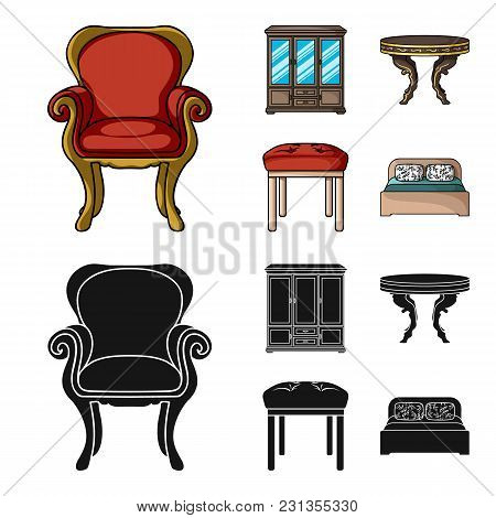 Furniture, Interior, Design, Chair .furniture And Home Interiorset Collection Icons In Cartoon, Blac