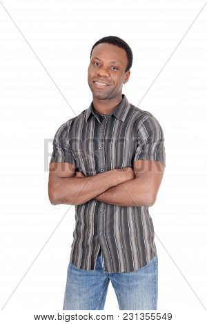 A Tall Good Looking African American Man Standing In Jeans And A Striped Shirt From The Front, Isola