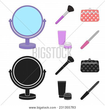 Table Mirror, Cosmetic Bag, Face Brush, Body Cream.makeup Set Collection Icons In Cartoon, Black Sty