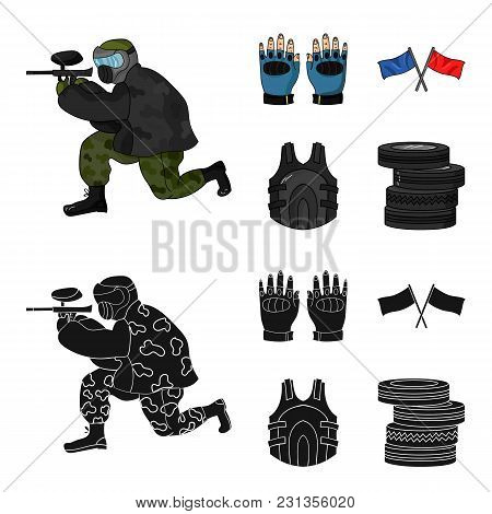 Sport, Game, Paintball, Competition .paintball Set Collection Icons In Cartoon, Black Style Vector S