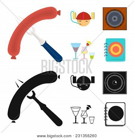 Fried Sausage, Beer Helmet, Cocktails, Speaker.pub Set Collection Icons In Cartoon, Black Style Vect