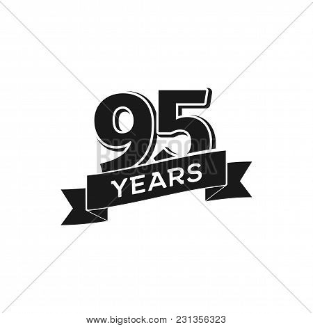 Vector 95 Years Anniversary Logotype. Isolated Black Logo 95th Jubilee On White Background