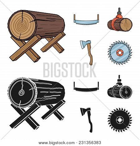 Log On Supports, Two-hand Saw, Ax, Raising Logs. Sawmill And Timber Set Collection Icons In Cartoon,