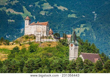 Vaduz Beautiful Castle View Of Lichtenstein Europe.