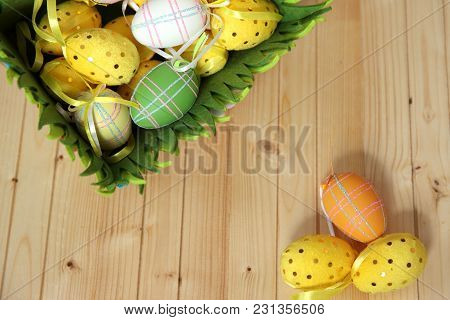 Eggs On Textured Wood Background. Shallow Depth Of Field