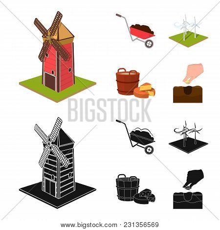 Garden, Plot, Ecology And Other  Icon In Cartoon, Black Style. Drink, Liquid, Farm Icons In Set Coll