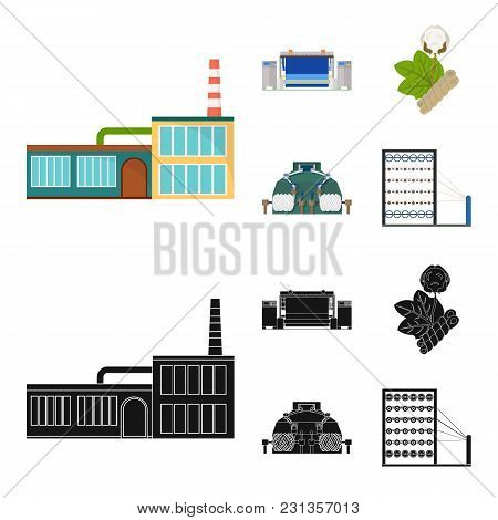Factory, Enterprise, Buildings And Other  Icon In Cartoon, Black Style. Textile, Industry, Fabric Ic