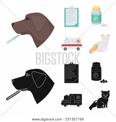 Hospital, Veterinarian, Dog, Thermometer .vet Clinic Set Collection Icons In Cartoon, Black Style Ve