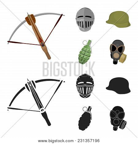 Crossbow, Medieval Helmet, Soldier's Helmet, Hand Grenade. Weapons Set Collection Icons In Cartoon,b