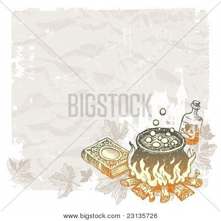 Halloween vintage background with hand drawn magic objects. (Vector version of this work is available in my portfolio: # 60833365)