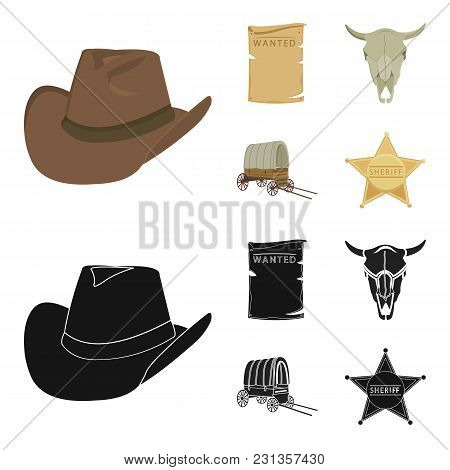 Cowboy Hat, Is Searched, Cart, Bull's Skull. Wild West Set Collection Icons In Cartoon,black Style V