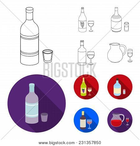 White Wine, Red Wine, Gin, Sangria.alcohol Set Collection Icons In Outline, Flat Style Vector Symbol