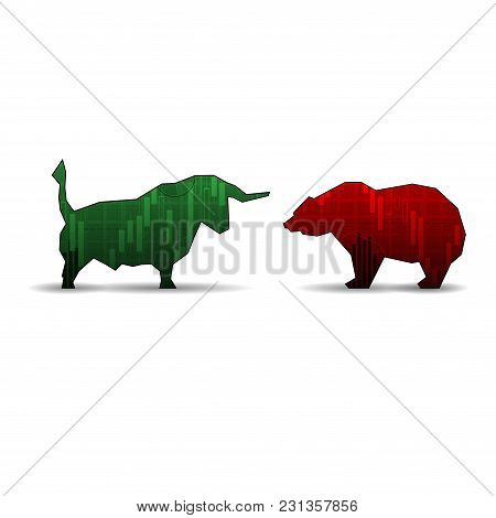 Green Bull And Red Dear Market Trent Silhouettes Isolated On White Background