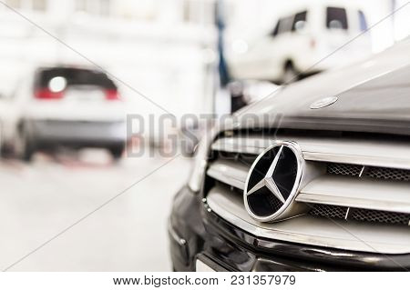 Stuttgart, Germany - December 12, 2017: Close-up Mercedes-benz Car Grill At Maintenance Station. Mb