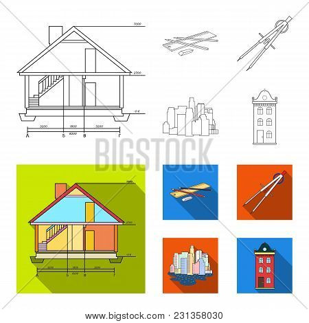 Drawing Accessories, Metropolis, House Model. Architecture Set Collection Icons In Outline, Flat Sty